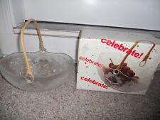 Crystal Glass Fruit Bowl Basket Bamboo Handle Holly Celebrate