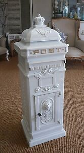 White Post box Large / Mail box white Pillar box Wedding card box royal mail box
