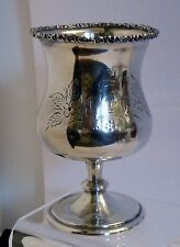 "SVx201 19th C COIN SILVER GOBLET CHALICE 5 inches h 6.2 oz engraved initial ""D"""