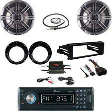 "Bluetooth Stereo- Harley FLHT DIN Kit, 400W Amp, Antenna, 6.5"" Speaker/ Adapters"