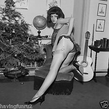 1950s Pinup kneeling Showing backside in panties and stockings 8 x 8 Photograph