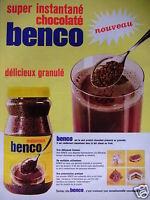 PUBLICITÉ 1967 BENCO SUPER INSTANTANÉ CHOCOLATÉ GRANULÉ - ADVERTISING