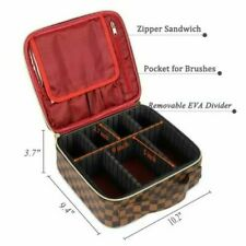 WODKEIS Checkered Travel Bag Makeup Organizer Case Adjustable Dividers NEW!