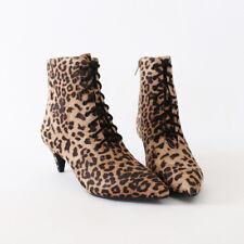 Leoard Faux Suede Ankle Boots Booties Pointy Toe Kitten Heel Lace Up