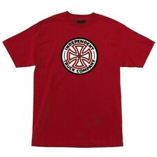 Independent Trucks RED/WHITE CROSS LOGO Skateboard Shirt CARDINAL XL