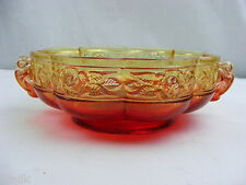 Vintage Carnival Glass Amberina Nut Candy Dish Bowl Red Yellow
