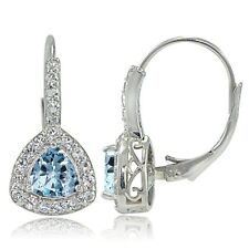 Sterling Silver Blue Topaz  & White Topaz Trillion-Cut Leverback Earrings