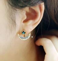 Women Crystal Star Moon Earrings Blue Pink Lolita Girls Star Moon Ear Stud
