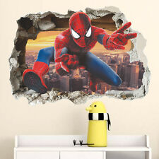 3D View Smashed Spiderman Wall Sticker Kids Baby Nursery Boys Room Decor Decal