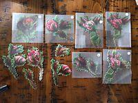 "#Original 1800's Victorian Die Cut Mixed Lot of 11 Ragged Edge Rose 2 x 4"""