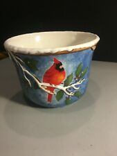 "Jackson & Perkins Ceramic Bird Planter Pot for Christmas or Winter Embossed 5"""