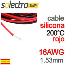 1m CABLE SILICONA 16AWG 1.53mm ROJO FLEXIBLE resistente 200°C 3.7A K0100