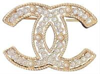 New 2019 Authentic CHANEL Classic CC Gold Crystal Pearl Extra Large Pin Brooch