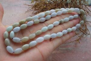 Certified 2 Color 100% Natural A JADE Jadeite Beads Necklace 21 inches 项链 666656
