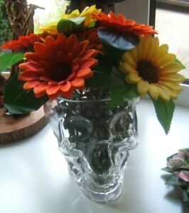 Glass Terrarium Vase Skull Shape large sunflowers, greenery  15 cm tall