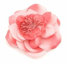 Zest Large Flower Hair Slide Clip Corsage Salmon Coral Pink