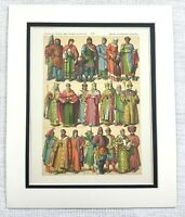 1895 Antico Stampa Slavi Etnico Persone Russo Siberiano Abito Costume Moda