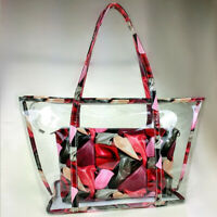 2pc Women Transparent Handbag Shoulder Bag Clear Jelly Purse Clutch PVC Tote Bag