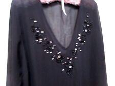 Ladies Moda Plus sized 22 Black Top with beaded V neckline 3/4 sleeved