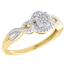 Right Hand Cocktail Ring 0.10 Ct. 10K Yellow Gold Cluster Diamond Braided Shank