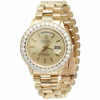Mens Diamond Rolex Day-Date President 18k Yellow Gold Watch with Band 4 Ct.