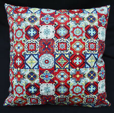 LF812a Teal Red Yellow Blue White Cotton Canvas Cushion Cover/Pillow Cover