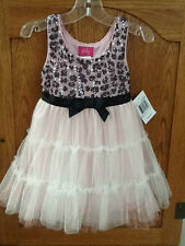 NWT! Toddler Girls Size 3 PINKY Sequins & Tulle Dress Pink & Black with Bow