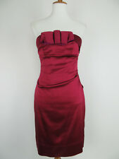 Phoebe Couture Strapless Dress Size 6 Burgundy Red Sheath Pleated Bow Detail