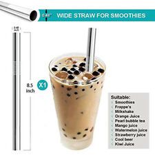 3X Reusable Drinking Straw Stainless Steel Metal Straws Wide Straw for Smoothies