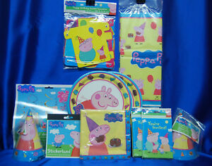 Peppa Pig Party Set # 16  PLates Tablecover Invites Hats Stickers Cake Topper