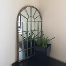 Rustic Outdoor Arch Mirror Large 32 Panel Free Standing Distressed Metal Frame