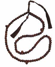 8mm-bead Dense Tamarind Wood Tijani Tariqah Tasbih Prayer Beads w/ Brown Tassels