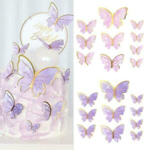 10Pcs Butterfly DIY Cake Decoration Cupcake Toppers Cake Toppers Birthday C3F7