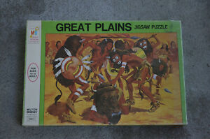 VINTAGE Milton Bradley GREAT PLAINS Indians JIGSAW puzzle 1973 SEALED