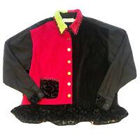 Taylor G Jacket Shabby Funky Fuchsia Black Velvet Patchwork Art Wear Ruffles XL