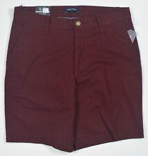 "Nautica #5344 NEW Men Royal Burgundy Stretch 8.5"" Inseam Classic Fit Deck Shorts"