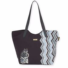 Laurel Burch Zig Zag Cats Black White Tote Bag Large Shoulder HandBag New