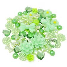 80 Mix Green Shabby Chic Resin Flatbacks Craft Cardmaking Embellishments