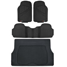 4pc All Weather Floor Mats & Cargo Set - Black Tough Rubber MOTORTREND FlexTough