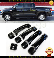 For 2007-2019 Toyota Tundra+Sequoia Glossy Black Door Handle Covers For Crew+DBL