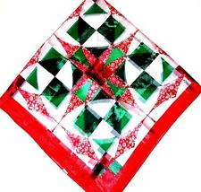 SCARF Large Square Red Border Red White Snow Holiday CHRISTMAS QUILT