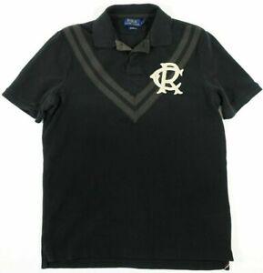 NWT Polo Ralph Lauren $125 BOATHOUSE BLACK Faux V-Neck Cotton Knit Shirt Men's S