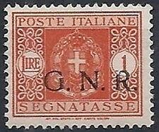 1944 RSI GNR BRESCIA SEGNATASSE 1 LIRA MNH ** VARIETà - RSI149-2