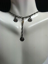 Jewelry Chain/Necklace/Choker/Link w/ Drop Down Pendant Flowers #144