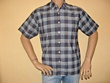 NEW MENS BOYS BLUE CHECK FASHION SHORT SLEEVE ROCKPORT CASUAL SHIRT SMALL 36/38