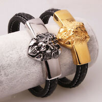 Cool Jewelry Men Boy Braided Leather Bracelet Stainless Steel Lion Magnet Clasp