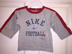 USED NIKE T SHIRT SIZE 3 6 MONTHS LONG SLEEVE FOOTBALL RED GRAY