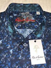 Robert Graham Ambleside Dk Blue Camouflage Short Sleeve Shirt - Men's (L) LARGE