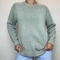 Womens Brooks Brothers Green Knit Sweater 100% Cotton Womens Size Medium