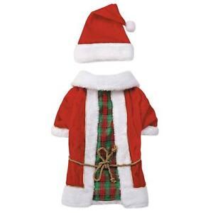 Dog Christmas Holiday Radiant Tartan Vintage Santa Set Outfit Pet w/ Hat Red